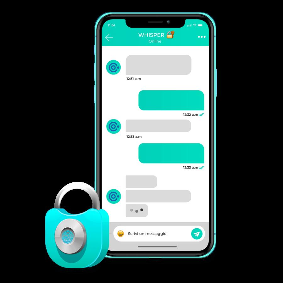 Whisper, l'app di messggistica dell'ecosistema DT Circle, ti permette di decidere se condividere il contenuto di ogni chat, e se decidi di condividerlo vieni ricompensato!